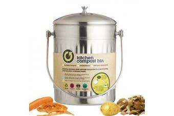 (1, Original Packaging) - Kitchen Craft Compost Bin, Stainless Steel, 5 Litres