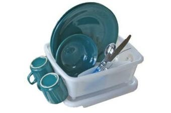 (Dish Rack and Tray, Translucent) - Camco 43511 RV Mini Dish Drainer and Tray