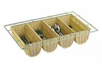 Paderno World Cuisine Polyrattan 4 Compartment Flatware Basket, 1/1 Hotel Pan Size