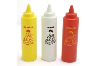 Charcoal Companion Classic Diner Condiment Bottle Set / Ketchup, Mayo, Mustard