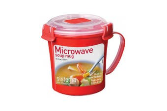 (656 ml, Soup Mug Only, Red) - Sistema Microwave Cookware Soup Mug, Medium, 650ml/ 2.8 Cup, Red