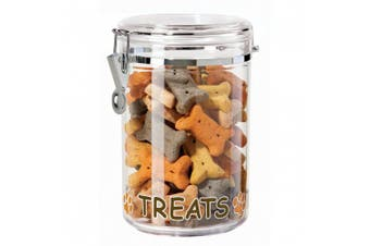 Oggi Acrylic Treat Canister with Treats and Paws Pattern