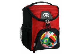 World Soccer Flag Ball Lunch Bag Insulated Lunch Cooler Red Soccer Design - Best Size Lunchbox