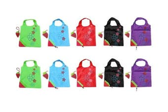 (Red) - 10 Newly Assorted Colours strawberry Reusable Foldable Shopping ECO Bags with pouch shoulder Tote Wholesale