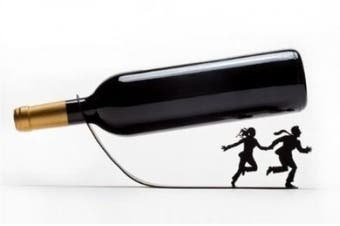 Artori Design - 'Wine for your life' - Black Metal Wine Bottle Holder, Unique Anniversary Gifts, Gifts for Wine's Lovers, Gifts for Boyfriend, Gifts for Husband, Wine Accessories