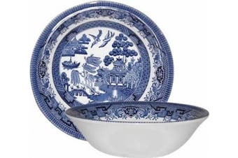 (Oatmeal Bowl 15cm ) - Churchill Blue Willow Fine China Earthenware Oatmeal Bowl 15cm Set Of 6, Made In England