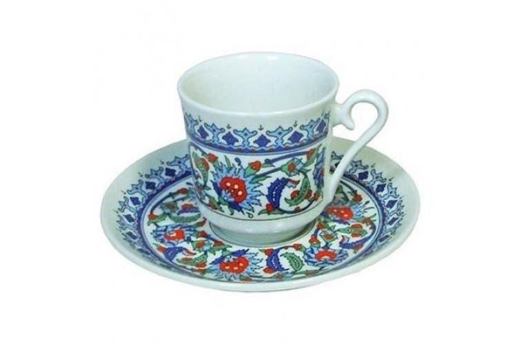 Porcelain Turkish Coffee Espresso Cup and Saucer Set - Topkapi Ottoman Design