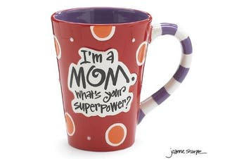 "(Red) - I'm A Mom, What's Your SuperPower."" 350ml Coffee Mug Great Gift for Mother (1, Red)"
