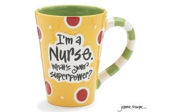"(Yellow) - Nurse 350ml Coffee Mug/cup with ""I'm A Nurse"" What's Your Super Power."" Great Gift For Nurses"