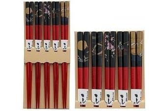 (Red) - Happy Sales HSCH84/S, Bamboo Chopsticks Gift Set Crane Design, Scenery Red
