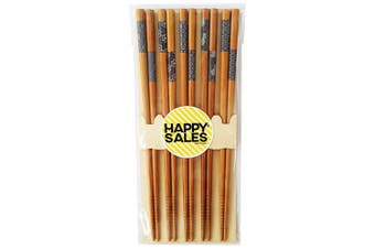 (Natural) - Happy Sales HSCH7/S, 5 Pairs Japanese Blue Sashiko Design Chopsticks Gift set, Natural