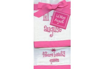 Lil Miss August Future Beauty Queen Baby Burp Cloths - Set of 2