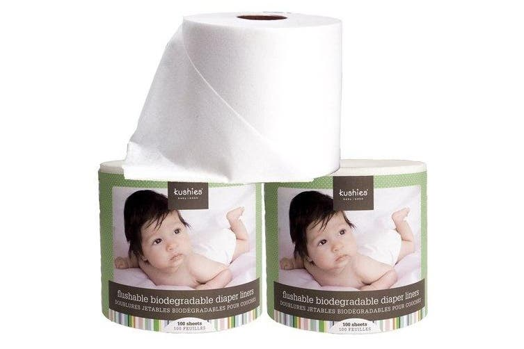 Kushies Flushable Biodegradable Nappy Liners, 100 Sheets , New,  .