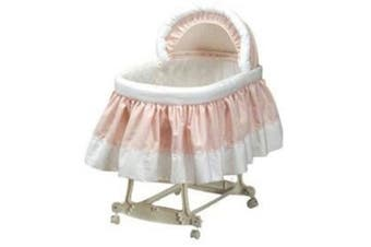 (16x32, Pink) - Pretty Pique Bassinet Liner and Hood - Pink - Size 16x32