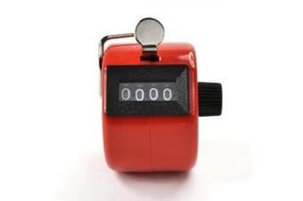 (no.1) - Bluecell Red Colour Handheld Tally Counter 4 Digit Display for Lap/sport/coach/school/event