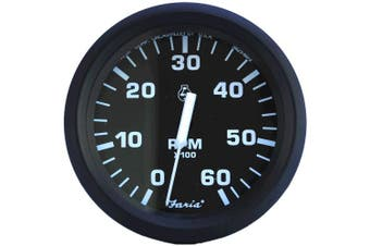 Faria Euro Series Black Tachometer for I/O and I/B