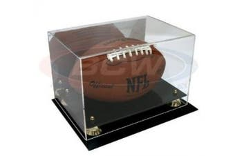 Collectible NFL - NCAA Size Deluxe UV Acrylic Football Holder Display Case - With Mirror