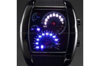 AMPM24 Mens Blue Binary Led Dot Matrix Date Black Rubber Sport Quartz Watch Cool