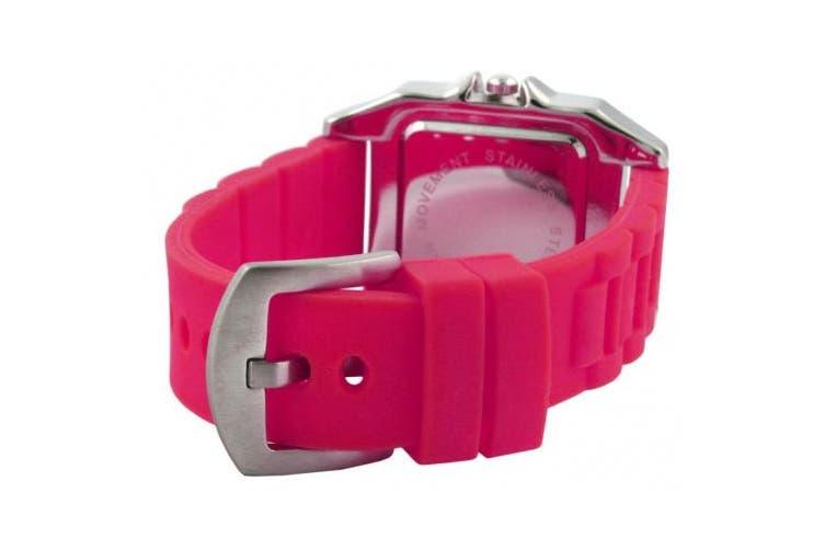 Trax Women's TR5132-WF Posh Square Fuchsia Rubber White Dial Watch