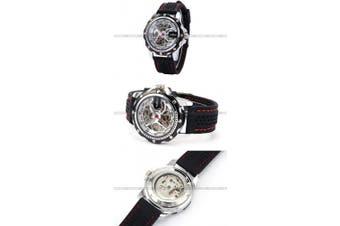Winnen Mens Skeleton Automatic Mechanical Black Silicone Band Sport Wrist Watch