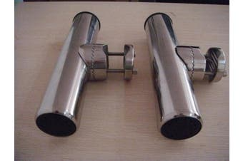 (2x) Amarine-made Stainless Clamp on Fishing Rod Holder for Rails 2.5cm to 1-0.6cm