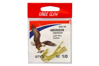 (6, Gold) - Eagle Claw Tackle Aberdeen Light Wire Non-offset Gold Size 6 10 per pk #202A-6