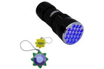 HQRP Professional Gemstone and Mineral Inspection / Identification 380 nM 21 UV LED Ultraviolet Flashlight / Blacklight + HQRP UV Tester