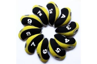 Number Tag Golf Iron Covers 10pcs/set MT/S11 black/yellow