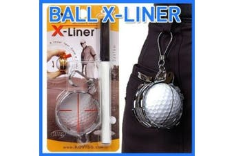 Metallic golf ball Alignment Tool liner and holder w/ pen putting aids BH421