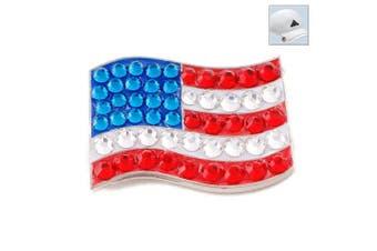 Bonjoc. Crystal Golf Ball Marker & Hat Clip - Flag - USA