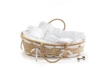 Moses Basket with White Gigham & Lace Bedding