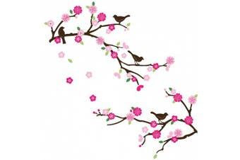 (#2) - CherryCreek Decals Cherry Blossom & Birds Decorative Nursery/Room Wall Sticker Decals