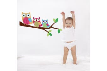 Owls on a Branch Removable Wall Decal Stickers