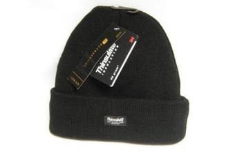 (Black) - Mens Thinsulate Thermal Winter Hat Black