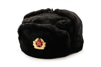 """Russian Soviet winter hat """"Ushanka"""" with military removable badge size: (L)/60/7 1/2"""