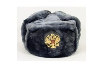 Russian Army KGB Cossack Military Fur Hat Ushanka *grey/L* w/Imperial Eagle Crest Badge
