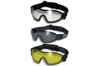 3 Motorcycle Goggles Clear Smoke Yellow ANTI-FOG Lenses Flare Skydive Goggles Each Comes with Micro Fibre Pouch for Storage and Cleaning