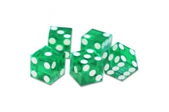 "19mm Polished ""A Grade"" Serialised Set of 5 Green Casino Dice with Razor Corners and Edges By Brybelly"