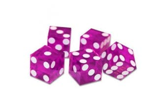 "19mm Polished ""A Grade"" Serialised Set of 5 Violet Casino Dice with Razor Corners and Edges By Brybelly"