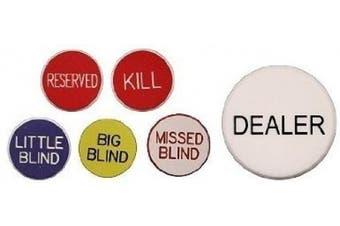 Set of 6 Professional Casino Texas Holdem Poker Dealer Buttons