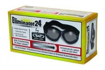 Eliminator 24 -Transitional Lens Red Baron Motorcycle Aviator Riding Goggles Day Night With Photocromatic Transition Lenses (Clear to Smoke) Boxed and Includes Micro Fibre Pouch for Storage and Safe Cleaning.