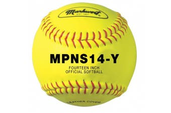 Markwort 35.6cm Synthetic Cover Softball (Yellow with Red Stitch)