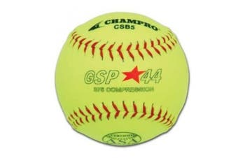 SChampro Game ASA Slow Pitch Softball, Poly Synthetic Cover, Red Stiches (Optic Yellow, 27.9cm )