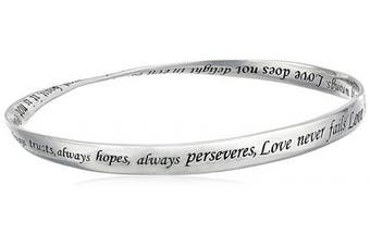 """(Love is Patient, Love is Kind) - Sterling Silver """"Love Is Patient, Love Is Kind"""" Twisted Bangle Bracelet"""