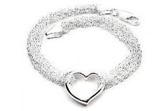 Sterling Silver Multi Strand Chain and Open Heart Bracelet - 19.1cm