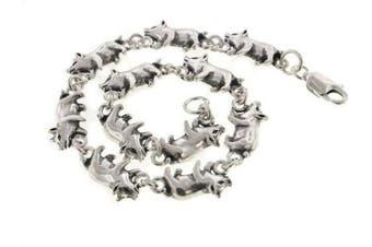 Detailed Little Pigs Sterling Silver Pig Link 17.8cm Bracelet