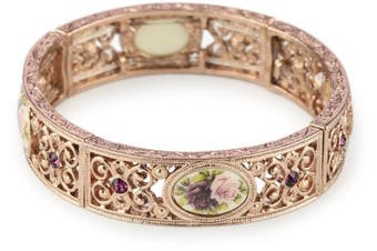 1928 Jewellery Victorian Inspired Floral Manor House Rose Gold-Tone Bracelet
