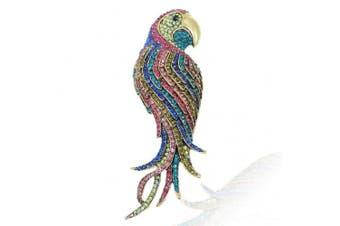 Ever Faith 12cm Vintage Style Parrot Brooch Pin Pendant Austrian Crystal Multi Bird