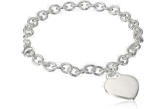 (23cm , Silver) - Sterling Silver Heart Tag Bracelet, 19cm