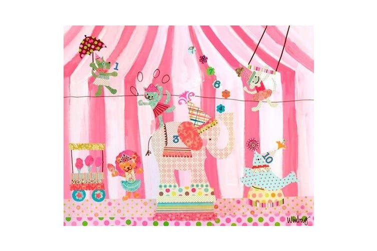 (80cm  by 60cm ) - Oopsy Daisy Cotton Candy Counting Circus! Stretched Canvas Wall Art by Winborg Sisters, 76.2cm by 61cm